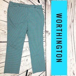 Worthington Blue & White Career Ankle Pants